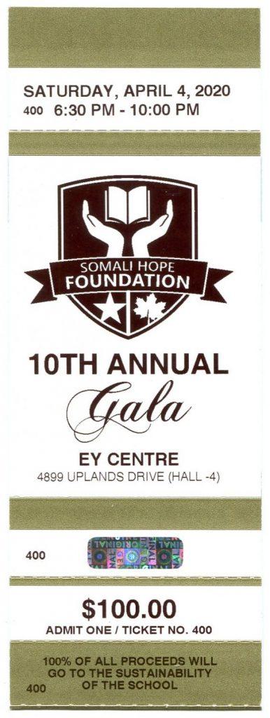 Somali Hope Foundation Gala ticket artwork
